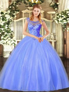 Blue Sleeveless Tulle Lace Up Quinceanera Gowns for Sweet 16 and Quinceanera
