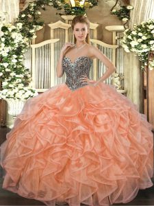 Clearance Floor Length Orange Quinceanera Gown Sweetheart Sleeveless Lace Up