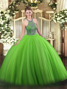 Flare Green Lace Up Quince Ball Gowns Beading Sleeveless Floor Length