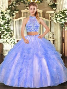 Best Selling Floor Length Lavender Vestidos de Quinceanera Tulle Sleeveless Beading and Ruffled Layers