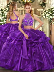 Customized Eggplant Purple Organza Criss Cross Halter Top Sleeveless Floor Length Sweet 16 Quinceanera Dress Beading and Ruffled Layers