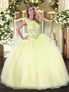 Light Yellow Lace Up Sweet 16 Dress Beading Sleeveless Floor Length