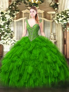 Sexy Ball Gowns V-neck Sleeveless Organza Floor Length Lace Up Beading and Ruffles 15th Birthday Dress
