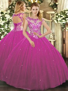 Scoop Cap Sleeves 15th Birthday Dress Floor Length Beading and Appliques Fuchsia Tulle