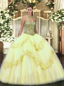 Floor Length Light Yellow Vestidos de Quinceanera Tulle Sleeveless Beading and Appliques