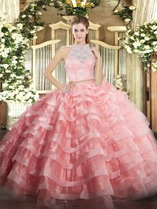 Edgy Watermelon Red Two Pieces Lace and Ruffled Layers Quince Ball Gowns Zipper Tulle Sleeveless Floor Length