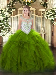 Admirable Green Tulle Zipper Ball Gown Prom Dress Sleeveless Floor Length Beading and Ruffles
