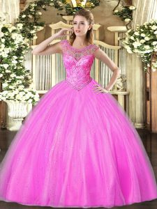 Lilac Lace Up Scoop Beading 15th Birthday Dress Tulle Sleeveless