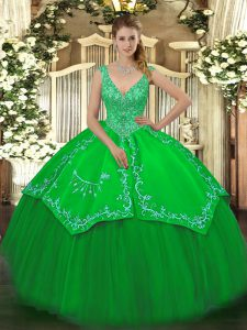 Fantastic Green Sleeveless Floor Length Beading and Embroidery Zipper Sweet 16 Dresses