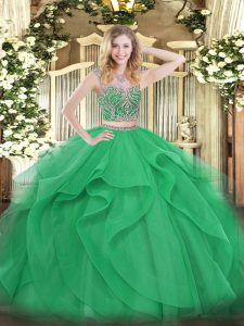 Green Scoop Lace Up Beading and Ruffles Sweet 16 Dress Sleeveless
