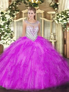Admirable Tulle Sleeveless Floor Length Sweet 16 Dress and Beading and Ruffles