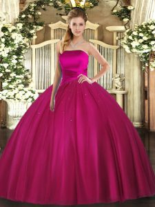 Fuchsia Sleeveless Tulle Lace Up Quinceanera Dress for Military Ball and Sweet 16 and Quinceanera