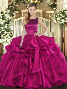 Edgy Fuchsia Organza Lace Up 15th Birthday Dress Sleeveless Floor Length Ruffles