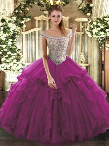 Fuchsia Ball Gowns Off The Shoulder Sleeveless Organza Floor Length Lace Up Beading and Ruffles Ball Gown Prom Dress