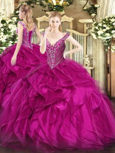 Clearance Fuchsia Sleeveless Floor Length Beading and Ruffles Lace Up 15 Quinceanera Dress