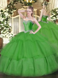 Green Lace Up Sweetheart Beading and Ruffled Layers Ball Gown Prom Dress Tulle Sleeveless