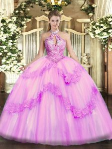 Sophisticated Lilac Sleeveless Organza Lace Up Ball Gown Prom Dress for Military Ball and Sweet 16 and Quinceanera