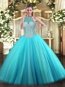 Artistic Aqua Blue Lace Up Halter Top Beading Quince Ball Gowns Tulle Sleeveless