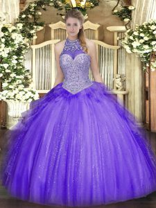 Artistic Lavender Halter Top Neckline Beading and Ruffles Sweet 16 Dresses Sleeveless Lace Up