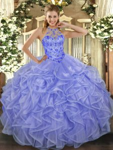 Pretty Ball Gowns Ball Gown Prom Dress Lavender Halter Top Organza Sleeveless Asymmetrical Lace Up