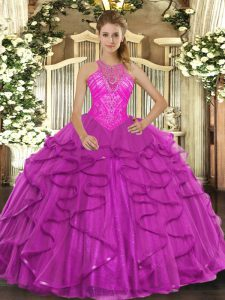 Fuchsia Vestidos de Quinceanera Military Ball and Sweet 16 and Quinceanera with Beading and Ruffles High-neck Sleeveless Lace Up