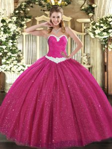 Floor Length Lace Up Sweet 16 Dress Hot Pink for Military Ball and Sweet 16 and Quinceanera with Appliques