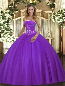 Decent Strapless Sleeveless Lace Up Quinceanera Gowns Purple Tulle