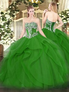 Green Tulle Lace Up Strapless Sleeveless Floor Length Vestidos de Quinceanera Beading and Ruffles