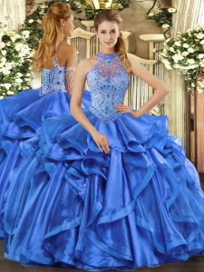 Custom Fit Halter Top Sleeveless Lace Up Quince Ball Gowns Blue Organza