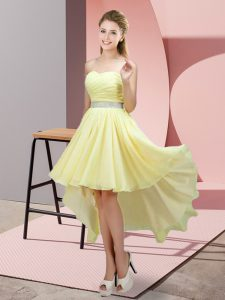 Affordable High Low Light Yellow Prom Evening Gown Chiffon Sleeveless Beading