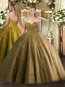 Graceful Brown Ball Gowns Sweetheart Sleeveless Tulle Floor Length Lace Up Appliques Sweet 16 Dress