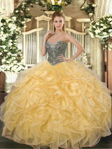 Amazing Gold Lace Up Sweetheart Beading and Ruffles Sweet 16 Dresses Organza Sleeveless