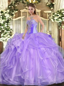 Attractive Sleeveless Organza Floor Length Lace Up Quinceanera Gowns in Lavender with Beading and Ruffles