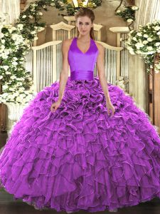 Charming Halter Top Sleeveless Sweet 16 Dress Floor Length Ruffles Fuchsia Organza