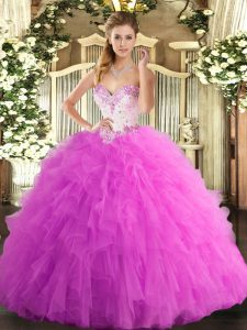 Floor Length Lace Up Quinceanera Dresses Rose Pink for Military Ball and Sweet 16 and Quinceanera with Beading and Ruffles