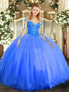 Enchanting Blue Ball Gowns Tulle Scoop Long Sleeves Lace Floor Length Lace Up Vestidos de Quinceanera