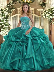 Best Selling Turquoise Ball Gowns Beading and Ruffles Quinceanera Gowns Lace Up Organza Sleeveless Floor Length