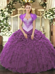 Eye-catching Beading and Ruffles 15 Quinceanera Dress Eggplant Purple Lace Up Sleeveless Floor Length