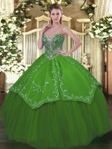 Shining Green Sleeveless Beading and Embroidery Floor Length 15th Birthday Dress