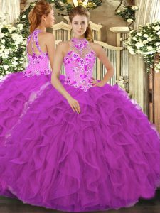 Sumptuous Floor Length Fuchsia Sweet 16 Dress Organza Sleeveless Beading and Embroidery and Ruffles