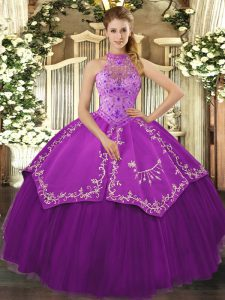 Pretty Satin and Tulle Sleeveless Floor Length 15th Birthday Dress and Beading and Embroidery