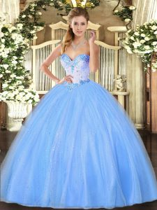 Glorious Sleeveless Lace Up Floor Length Beading Quinceanera Dress