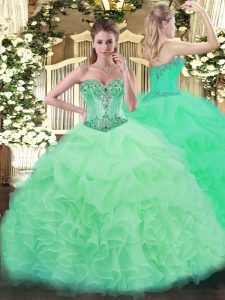 Flare Floor Length Apple Green Quince Ball Gowns Sweetheart Sleeveless Lace Up