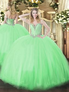 Ball Gowns Quince Ball Gowns Sweetheart Tulle Sleeveless Floor Length Lace Up