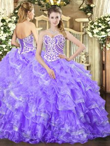 Hot Sale Lavender Sleeveless Floor Length Beading and Ruffled Layers Lace Up 15 Quinceanera Dress