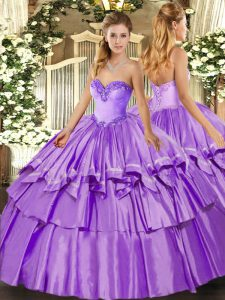 Organza and Taffeta Sleeveless Floor Length Sweet 16 Quinceanera Dress and Ruffled Layers