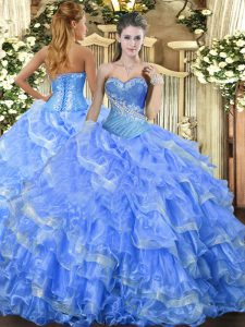 Nice Sweetheart Sleeveless Lace Up Quinceanera Dress Baby Blue Organza