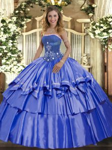 Enchanting Organza and Taffeta Strapless Sleeveless Lace Up Beading and Ruffled Layers Quinceanera Gown in Blue