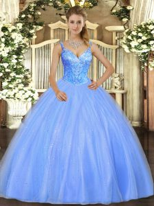 Blue Sleeveless Beading Floor Length Sweet 16 Dress