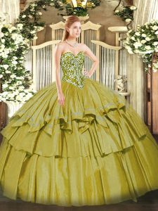 Super Sweetheart Sleeveless Lace Up 15 Quinceanera Dress Olive Green Organza and Taffeta